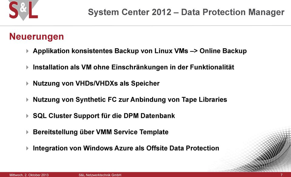 Synthetic FC zur Anbindung von Tape Libraries SQL Cluster Support für die DPM Datenbank