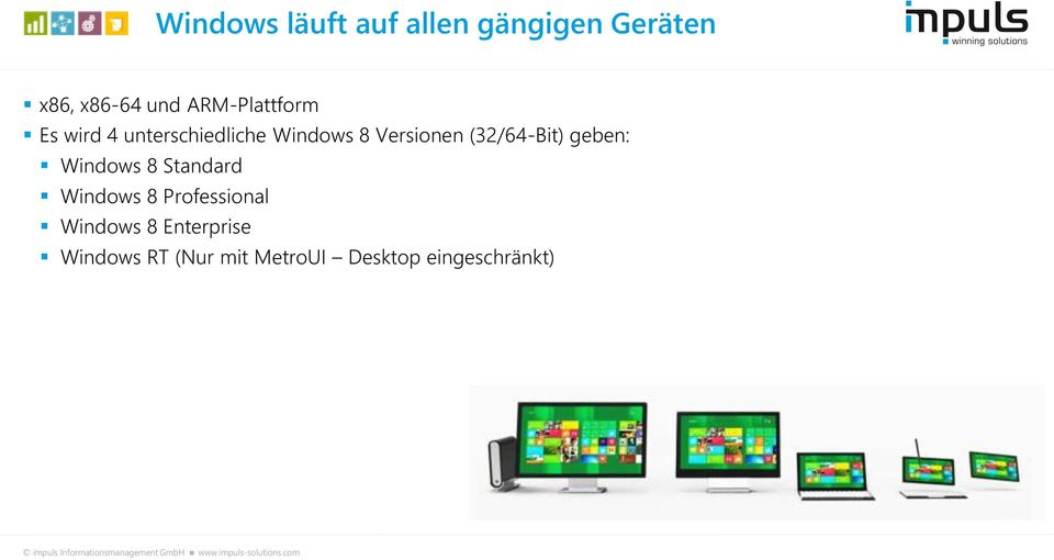 (32/64-Bit) geben: Windows 8 Standard Windows 8 Professional