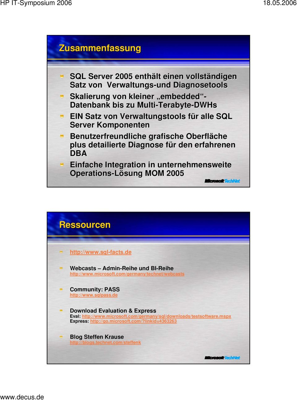 Operations-Lösung sung MOM 2005 Ressourcen http://www.sql-facts.de Webcasts Admin-Reihe und BI-Reihe http://www.microsoft.com/germany/technet/webcasts Community: PASS http://www.sqlpass.