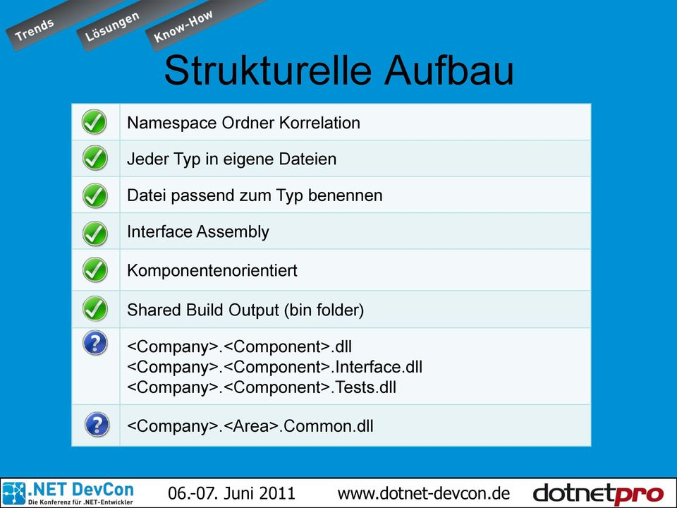 Komponentenorientiert Shared Build Output (bin folder) <Company>.