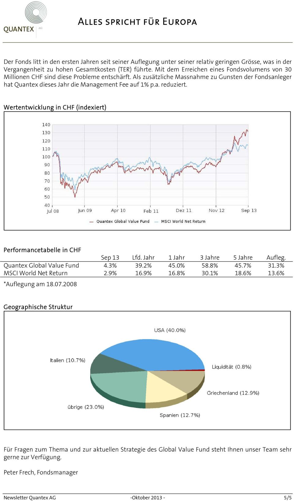 Wertentwicklung in CHF (indexiert) Performancetabelle in CHF Sep 13 Lfd. Jahr 1 Jahr 3 Jahre 5 Jahre Aufleg. Quantex Global Value Fund 4.3% 39.2% 45.0% 58.8% 45.7% 31.3% MSCI World Net Return 2.9% 16.