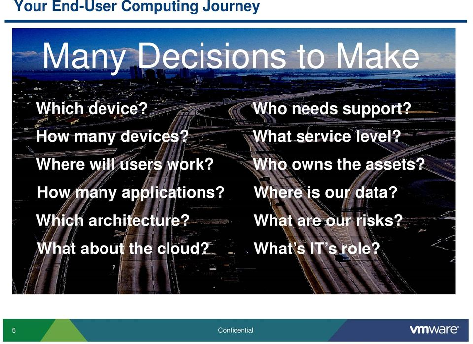 Where will users work? Who owns the assets? How many applications?