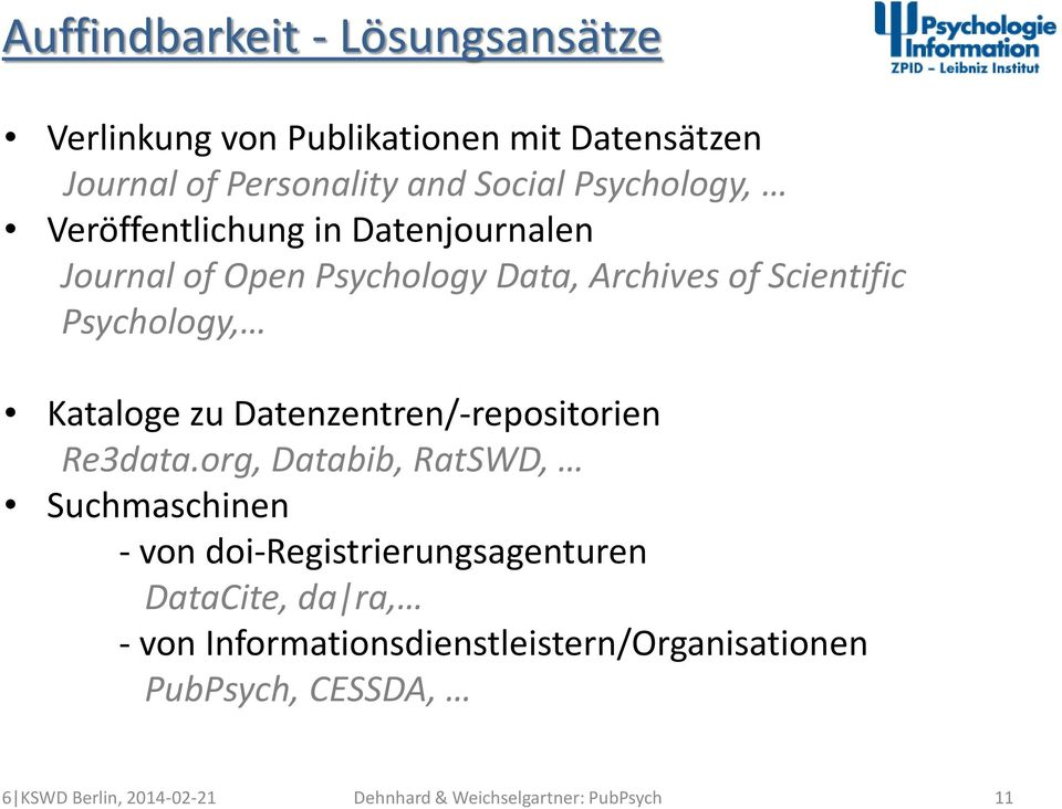 Scientific Psychology, Kataloge zu Datenzentren/-repositorien Re3data.