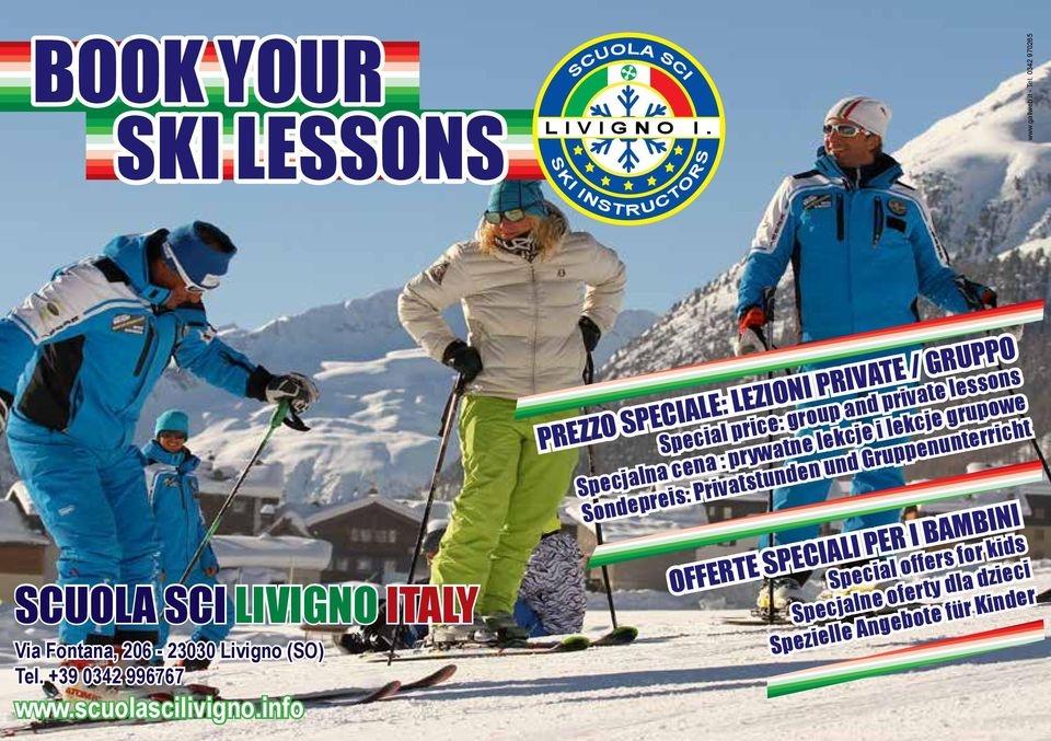 info PREZZO SPECIALE: LEZIONI PRIVATE / GRUPPO Special price: group and private lessons Specjalna cena : prywatne lekcje i