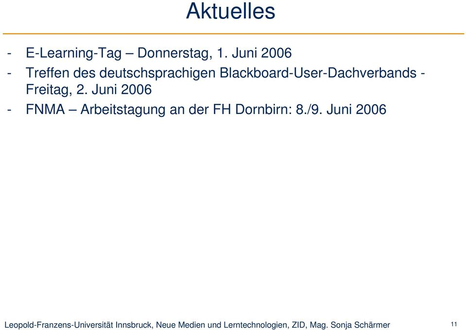 Blackboard-User-Dachverbands - Freitag, 2.