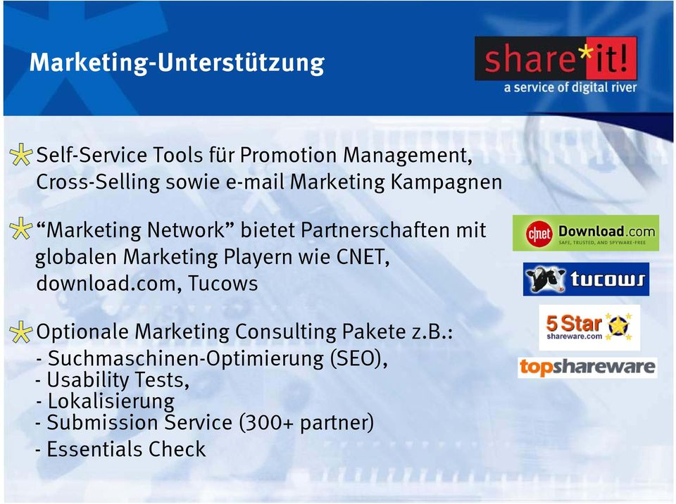 CNET, download.com, Tucows Optionale Marketing Consulting Pakete z.b.