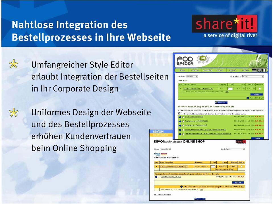 Bestellseiten in Ihr Corporate Design Uniformes Design der