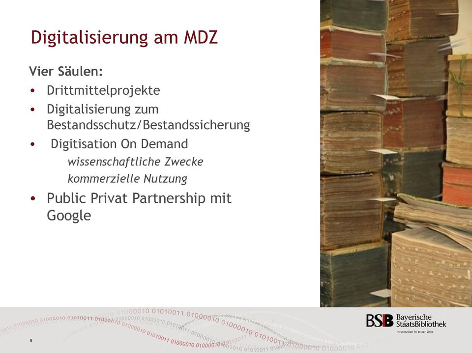 Bestandsschutz/Bestandssicherung Digitisation On