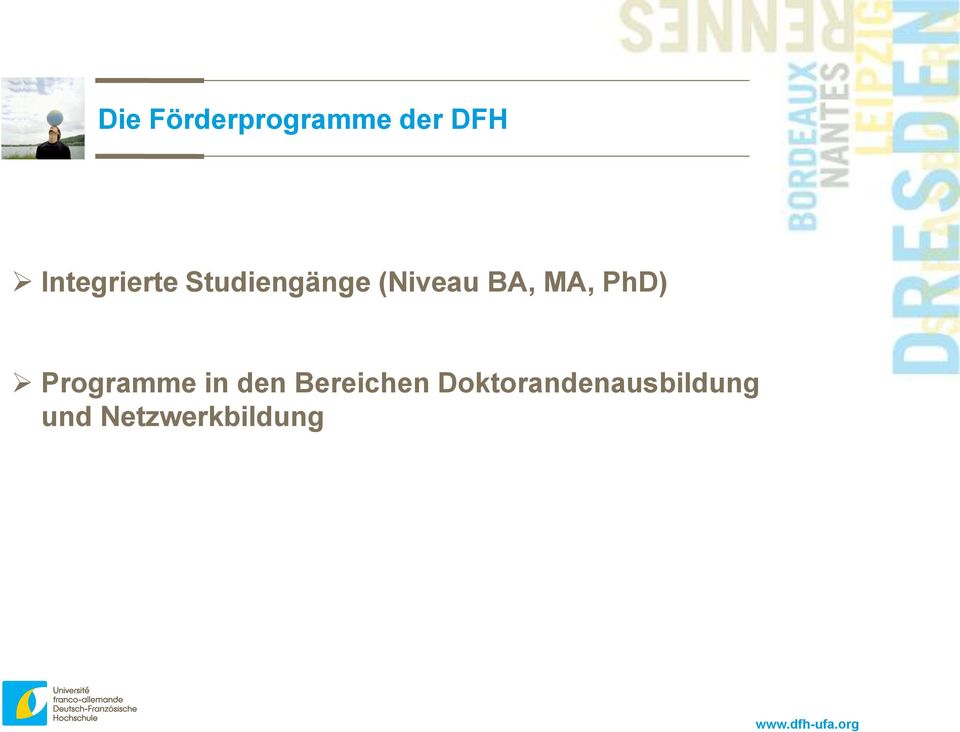 BA, MA, PhD) Programme in den