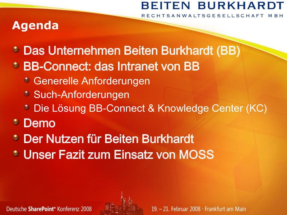 Such-Anforderungen Die Lösung BB-Connect & Knowledge