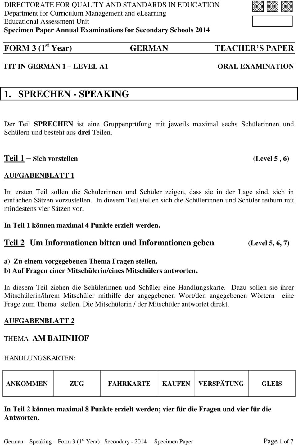 FORM 3 (1 st Year) GERMAN Specification Paper - PDF