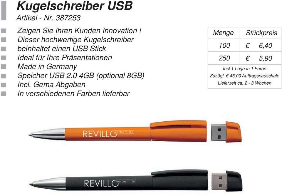 Präsentationen Made in Germany Speicher USB 2.0 4GB (optional 8GB) Incl.