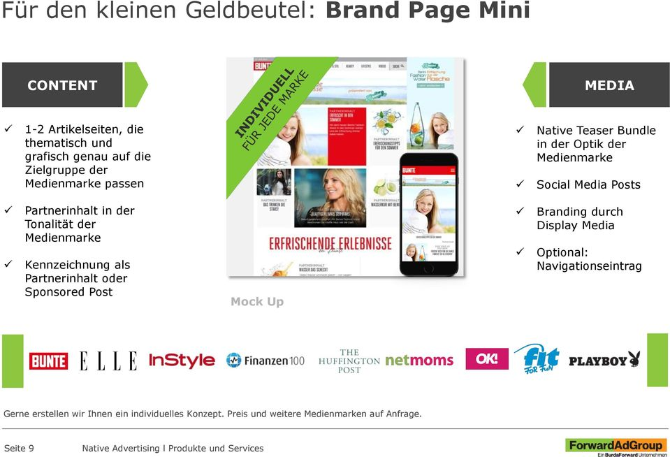 der Tonalität der Medienmarke Kennzeichnung als Partnerinhalt oder Sponsored Post Mock Up Branding durch Display Media