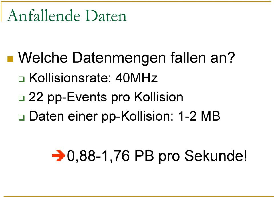 Kollisionsrate: 40MHz 22 pp-events pro