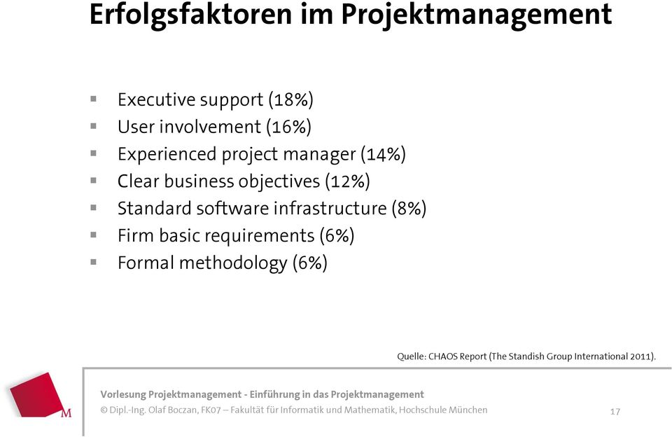objectives (12%) Standard software infrastructure (8%) Firm basic