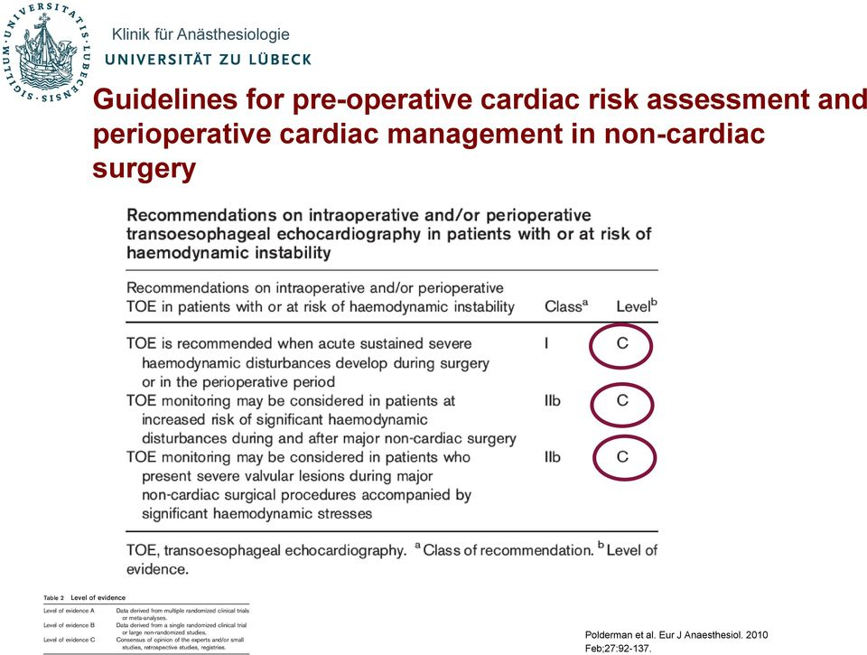 management in non-cardiac surgery