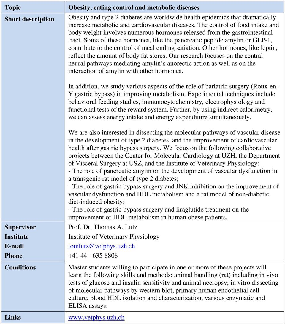 Master s Thesis Topics Human Biology  Physiology - PDF