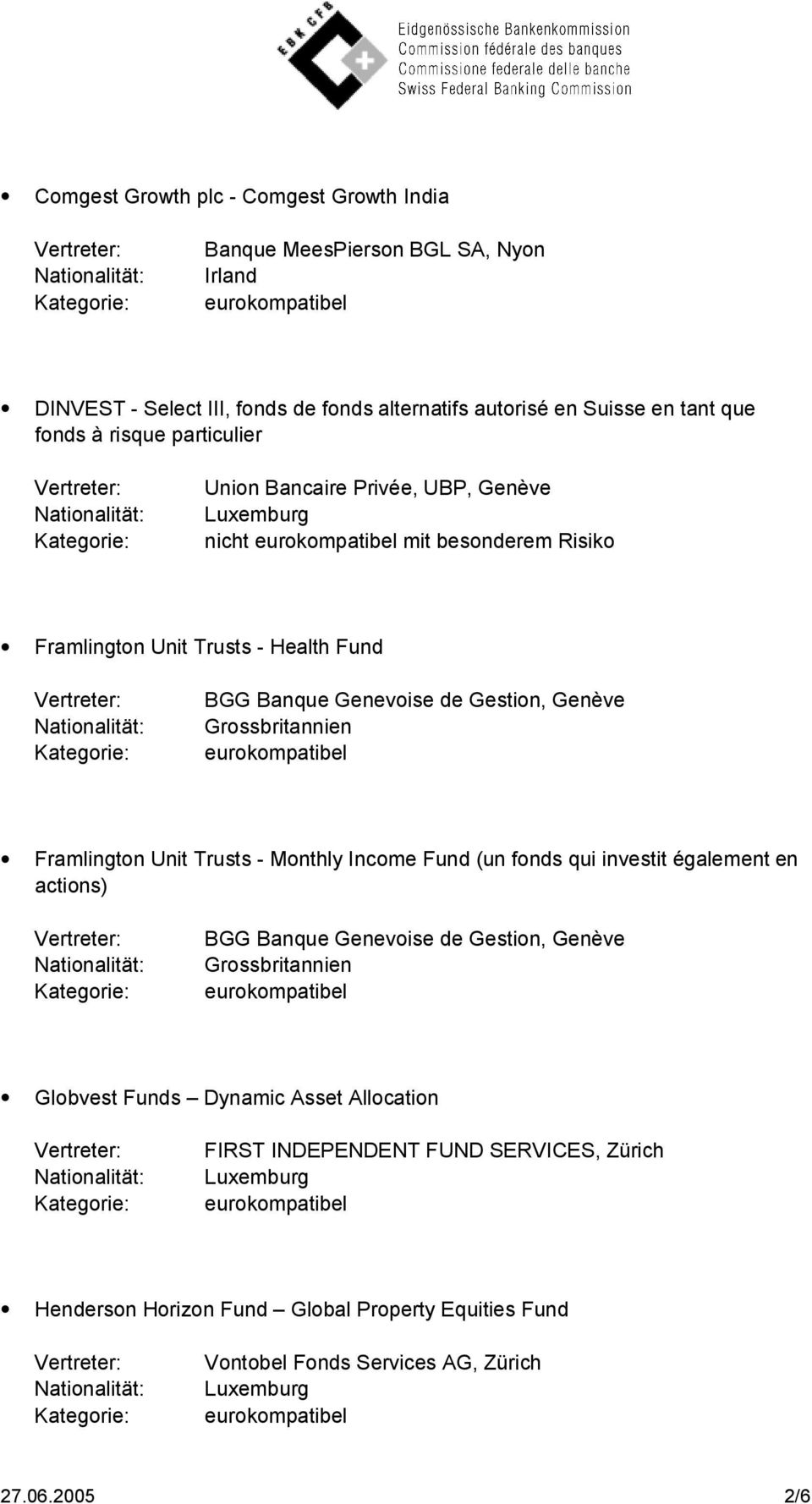 Grossbritannien Framlington Unit Trusts - Monthly Income Fund (un fonds qui investit également en actions) BGG Banque Genevoise de Gestion, Genève Grossbritannien