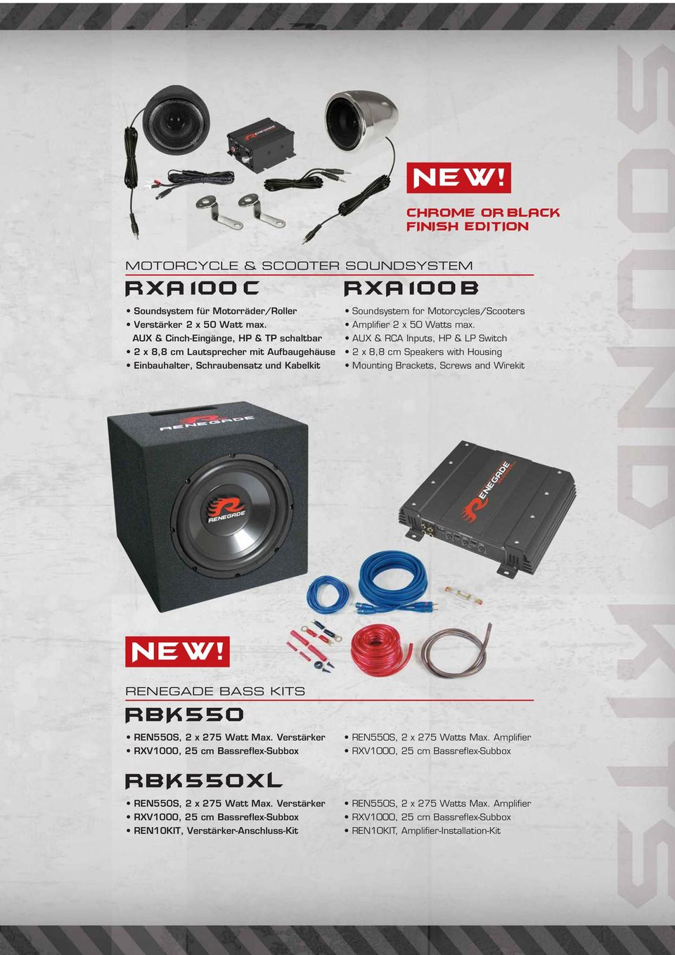 AUX & RCA Inputs, HP & LP Switch 2 x 8,8 cm Speakers with Housing Mounting Brackets, Screws and Wirekit NEW! RENEGADE BASS KITS RBK550 REN550S, 2 x 275 Watt Max.