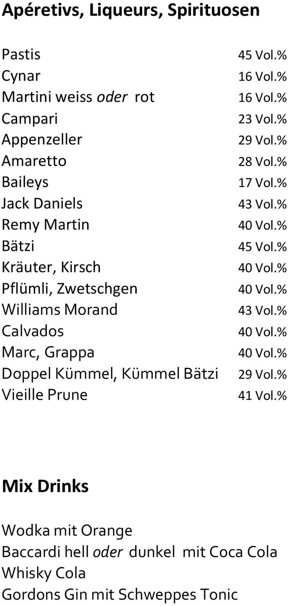 % Kräuter, Kirsch 40 Vol.% Pflümli, Zwetschgen 40 Vol.% Williams Morand 43 Vol.% Calvados 40 Vol.% Marc, Grappa 40 Vol.