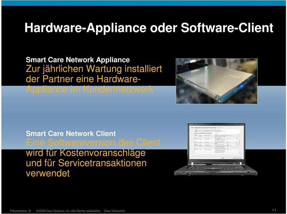 im Kundennetzwerk Smart Care Network Client Eine Softwareversion des