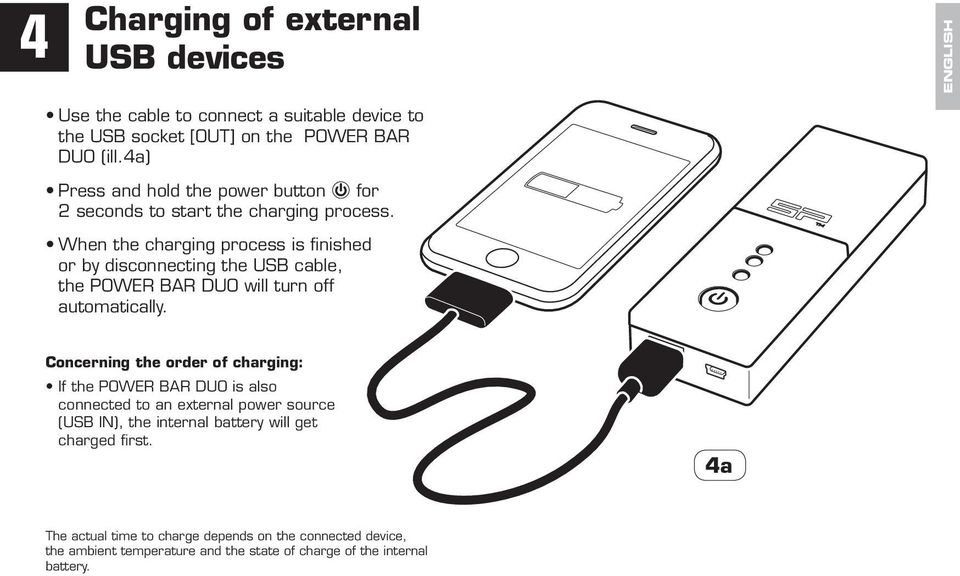 When the charging process is finished or by disconnecting the USB cable, the POWER BAR DUO will turn off automatically.