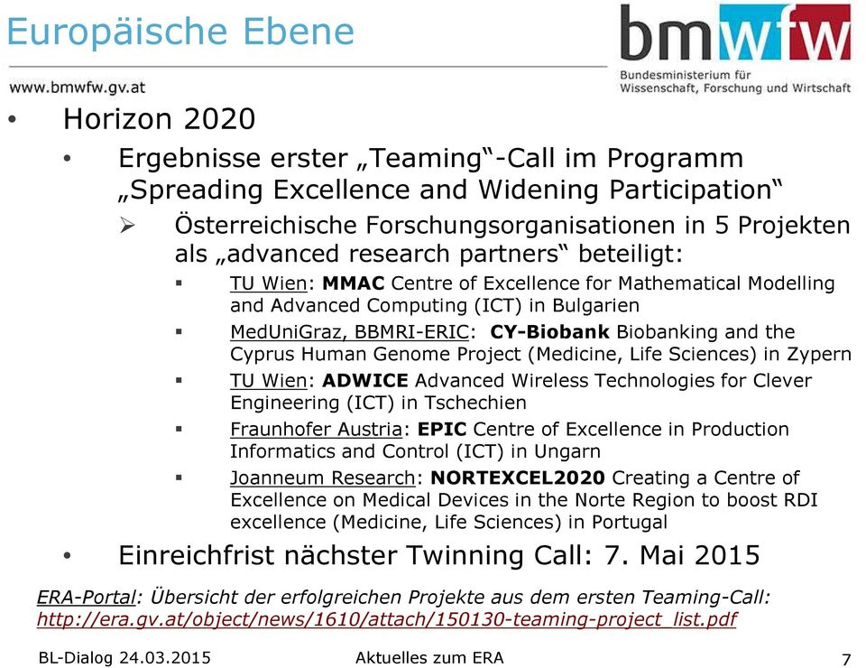 Genome Project (Medicine, Life Sciences) in Zypern TU Wien: ADWICEAdvanced Wireless Technologies for Clever Engineering (ICT) in Tschechien FraunhoferAustria: EPICCentre of Excellence in Production