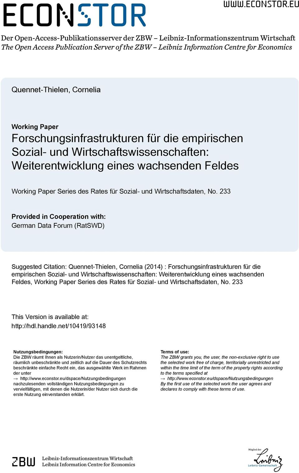 eu Der Open-Access-Publikationsserver der ZBW Leibniz-Informationszentrum Wirtschaft The Open Access Publication Server of the ZBW Leibniz Information Centre for Economics Quennet-Thielen, Cornelia
