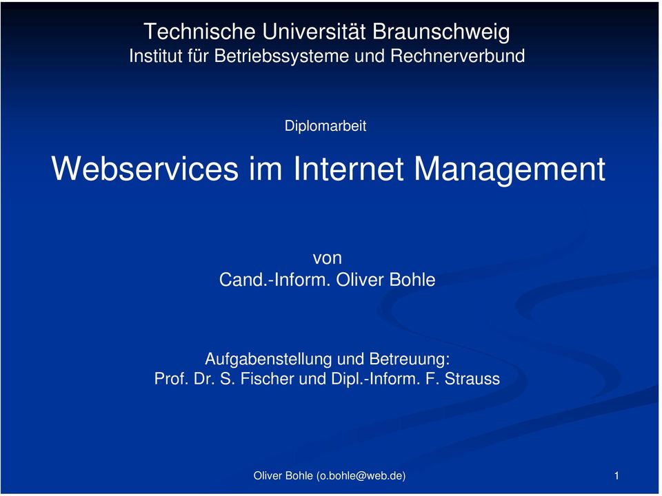 im Internet Management von Cand.-Inform.
