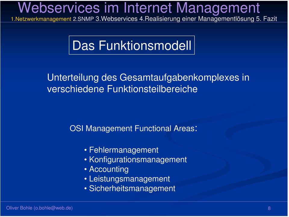 Funktionsteilbereiche OSI Management Functional Areas: