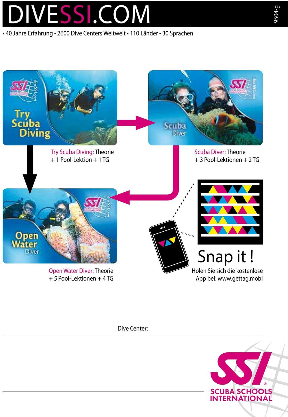 9504-g Try Scuba Diving: Theorie + 1 Pool-Lektion + 1 TG Scuba Diver: Theorie