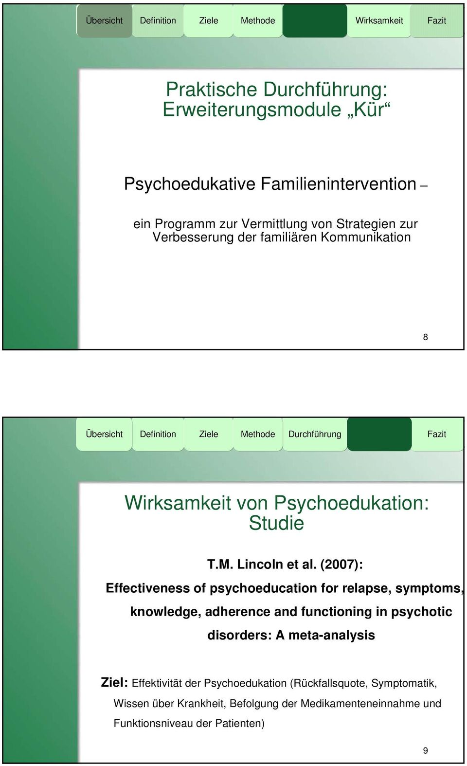 (2007): Effectiveness of psychoeducation for relapse, symptoms, knowledge, adherence and functioning in psychotic disorders: A