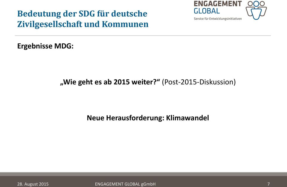 (Post-2015-Diskussion) Neue