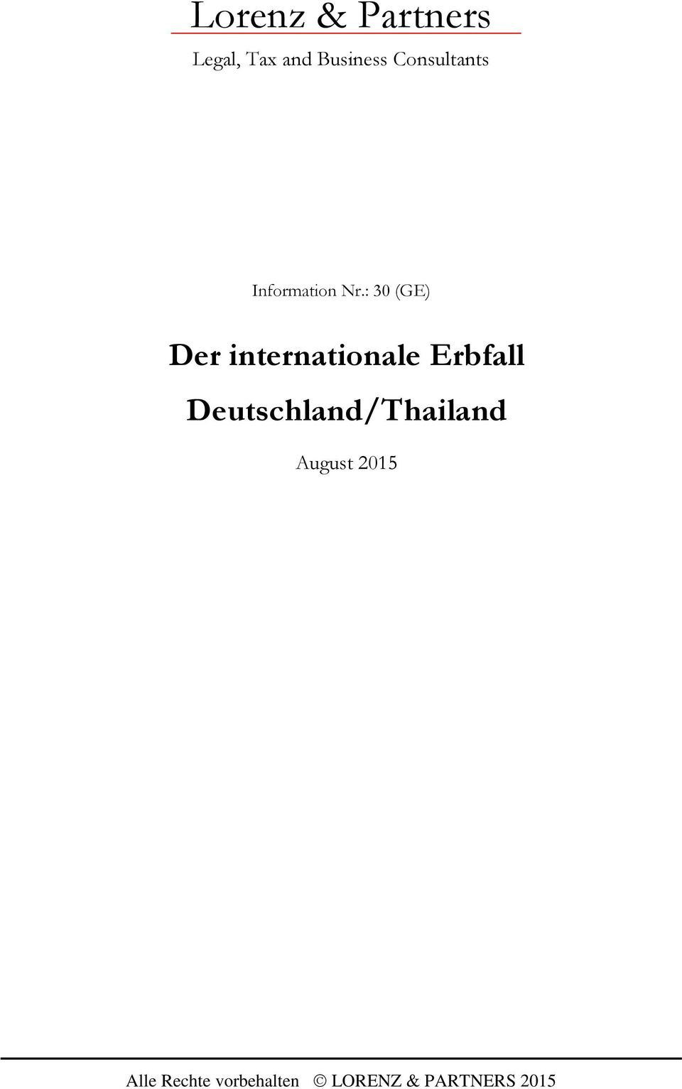 : 30 (GE) Der internationale Erbfall