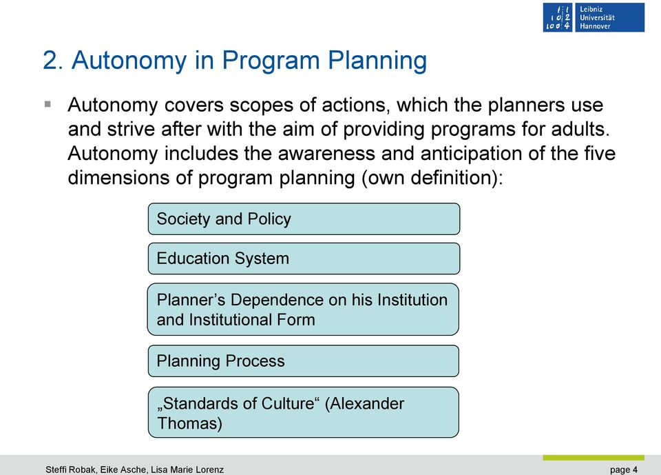 Autonomy includes the awareness and anticipation of the five dimensions of program planning (own