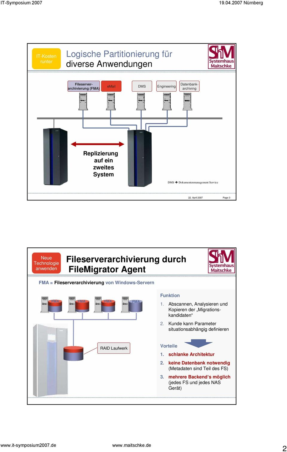 April 2007 Page 3 Neue Technologie anwenden Fileserverarchivierung durch FileMigrator Agent FMA = Fileserverarchivierung von Windows-Servern FMA FMA FMA FMA