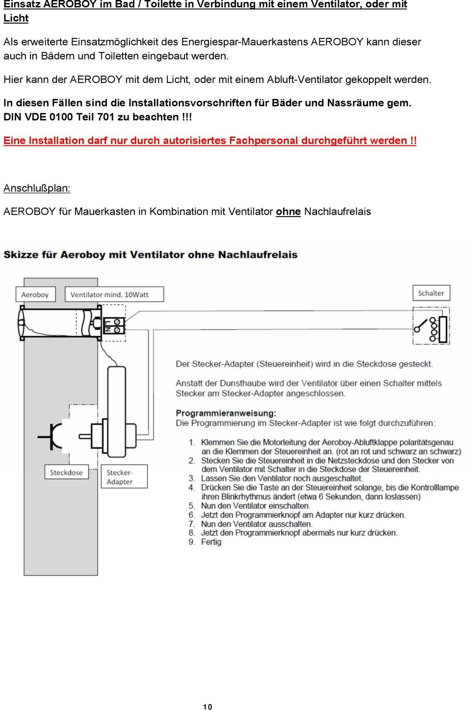 energiespar mauerkasten mit elektronisch gesteuerter abluftventilklappe montagehinweise pdf. Black Bedroom Furniture Sets. Home Design Ideas