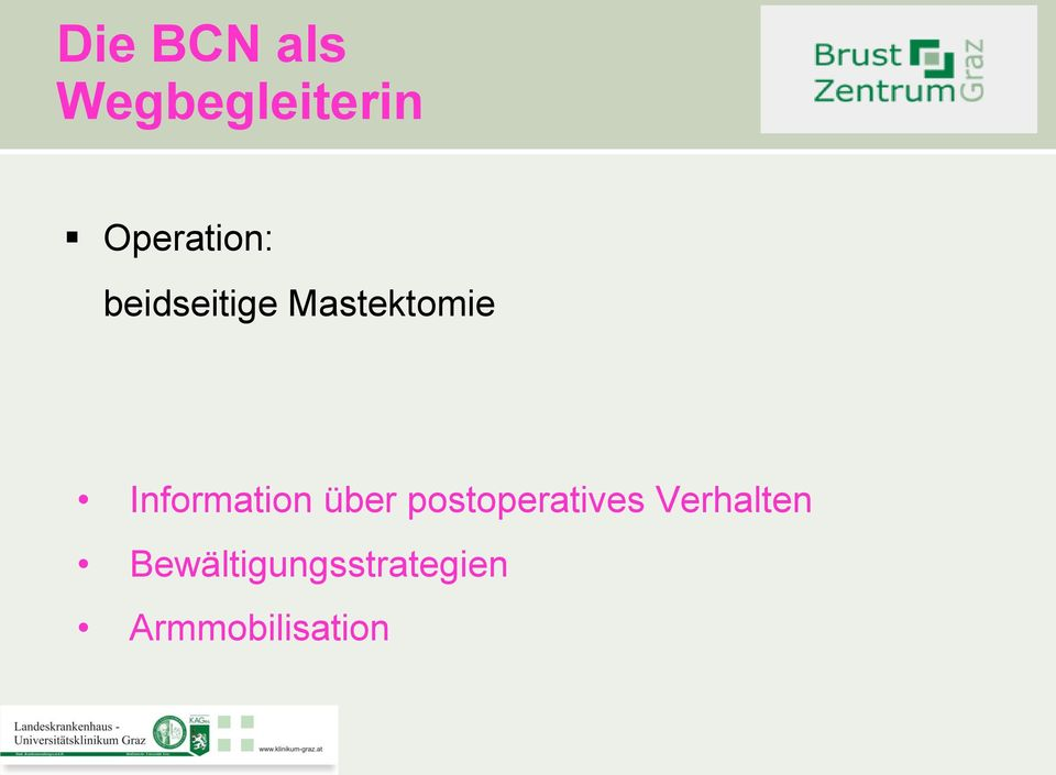 Information über postoperatives