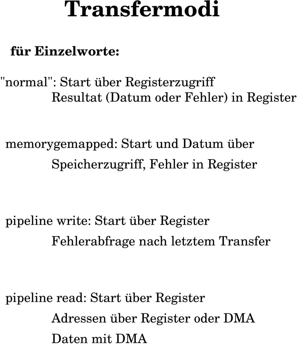 Fehler in Register pipeline write: Start über Register Fehlerabfrage nach letztem