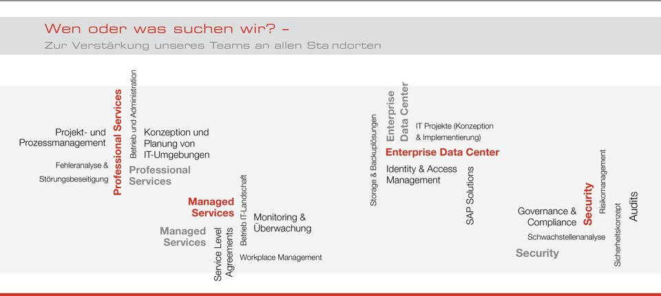 Administration Konzeption und Planung von IT-Umgebungen Professional Services Managed Services Managed Services Service Level Agreements Betrieb IT-Landschaft