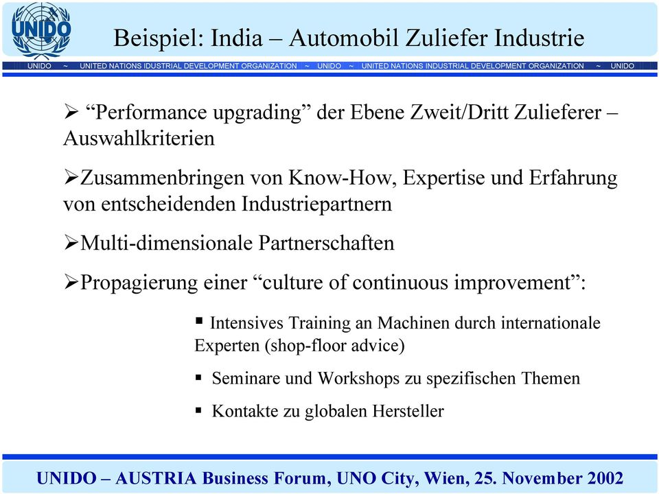 Multi-dimensionale Partnerschaften Propagierung einer culture of continuous improvement : Intensives Training an