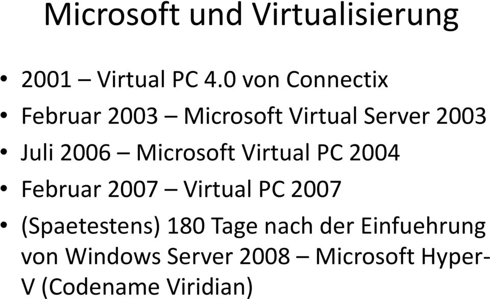 Microsoft Virtual PC 2004 Februar 2007 Virtual PC 2007 (Spaetestens)