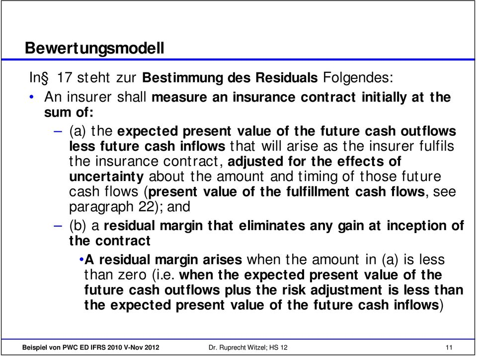 of the fulfillment cash flows, see paragraph 22); and (b) a residual margin that eliminates any gain at inception of the contract A residual margin arises when the amount in (a) is less than zero (i.