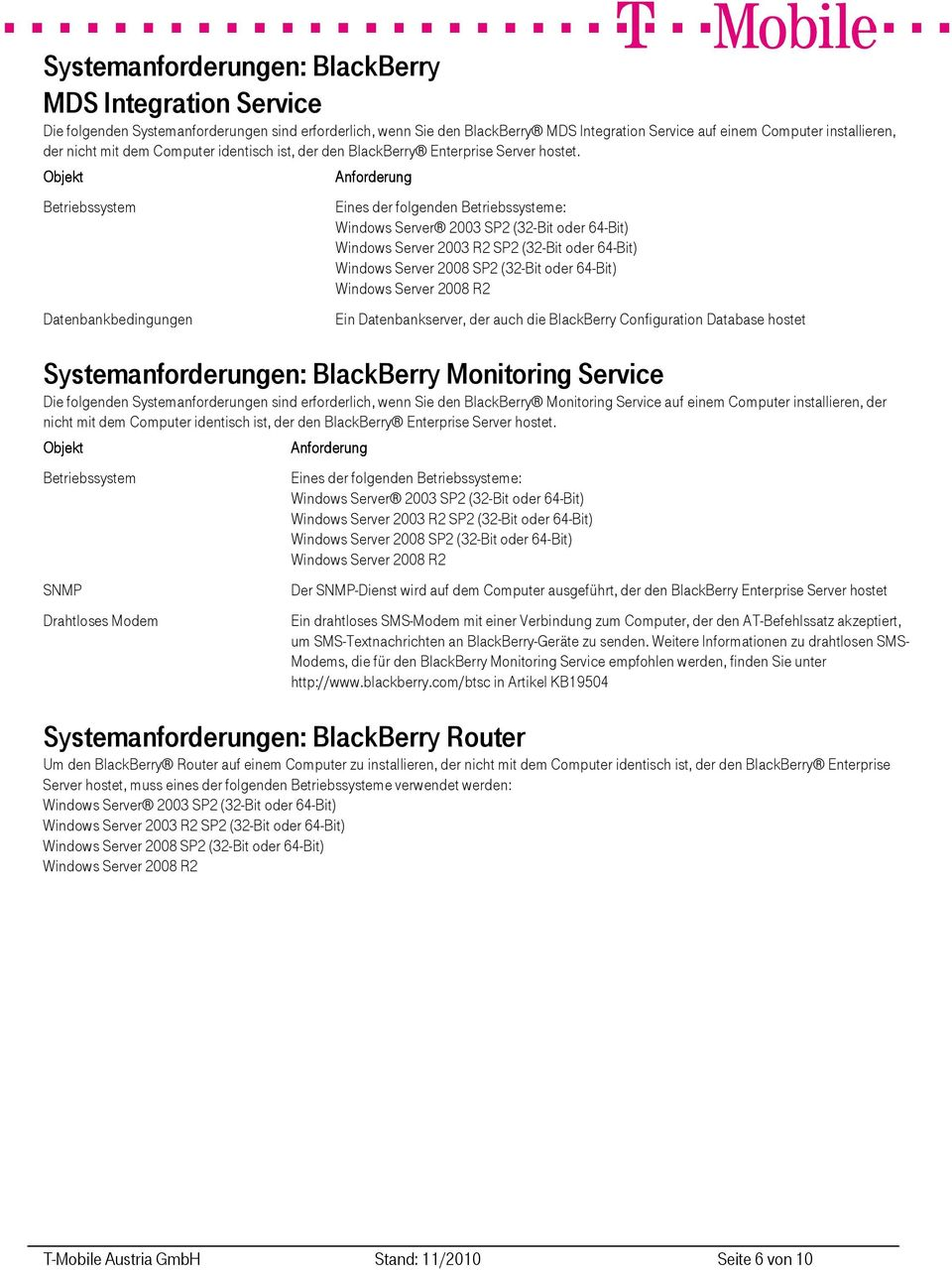 Datenbankbedingungen Eines der folgenden e: Ein Datenbankserver, der auch die BlackBerry Configuration Database hostet Systemanforderungen: BlackBerry Monitoring Service Die folgenden