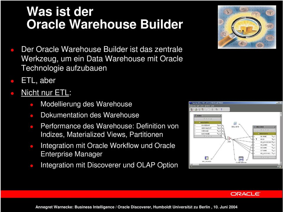 Dokumentation des Warehouse Performance des Warehouse: Definition von Indizes, Materialized Views,