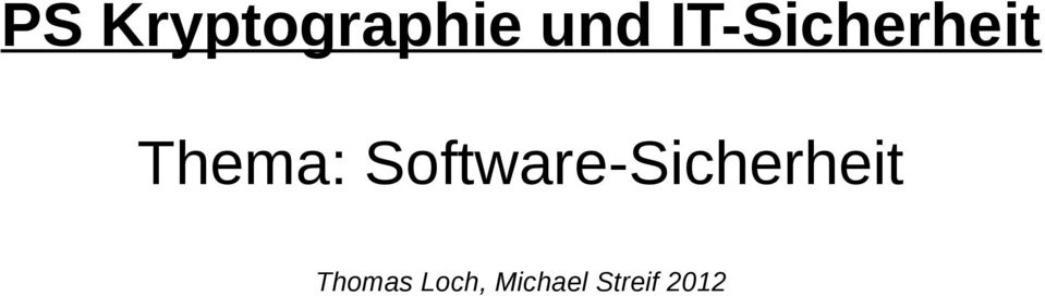 Software-Sicherheit