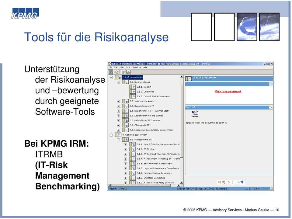 Software-Tools Bei KPMG IRM: ITRMB (IT-Risk