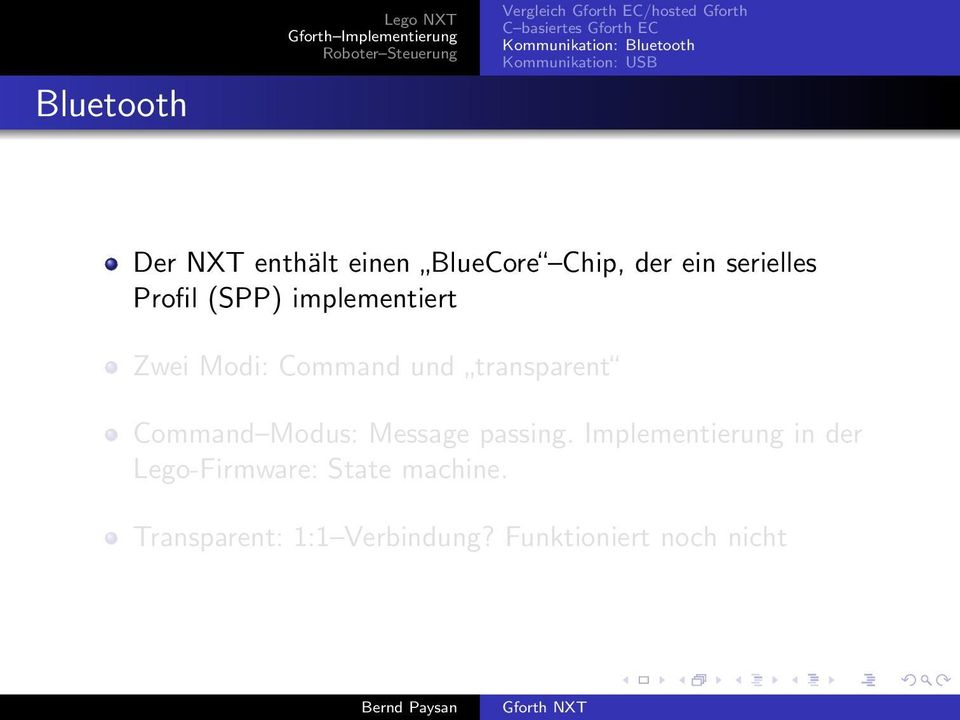 Command und transparent Command Modus: Message passing.