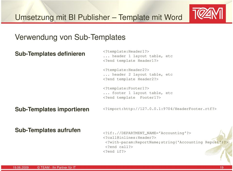end template Footer1?> Sub-Templates importieren <?import:http://127.0.0.1:9704/headerfooter.rtf?> Sub-Templates aufrufen <?if:.