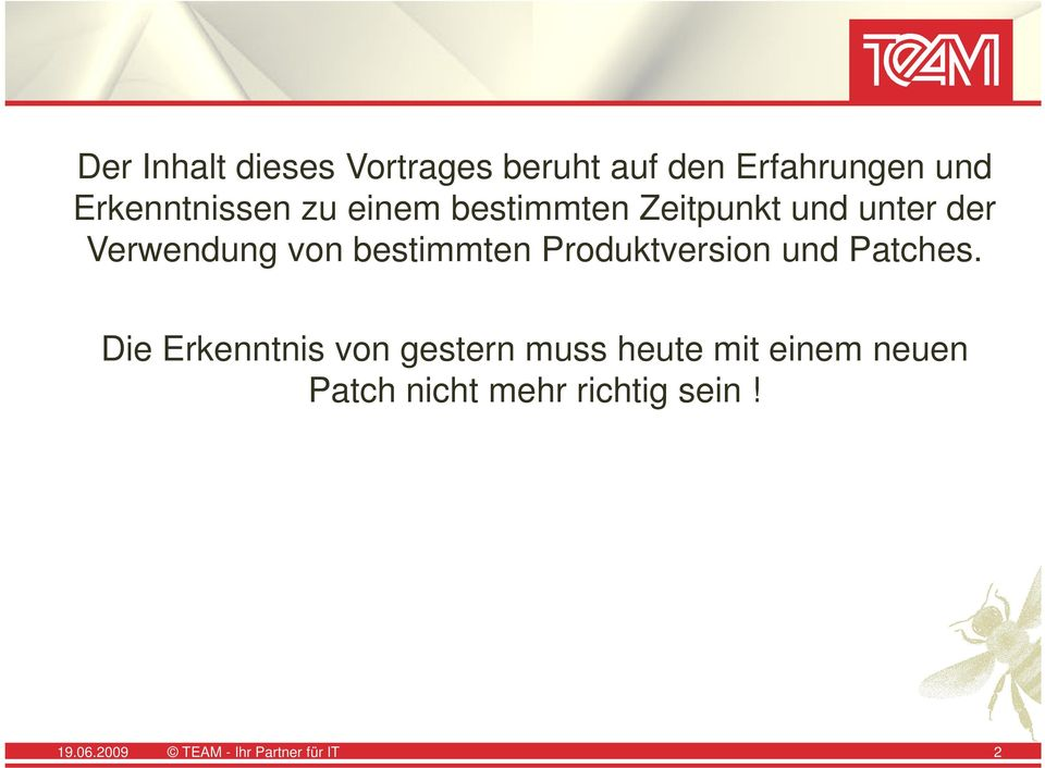 Produktversion und Patches.